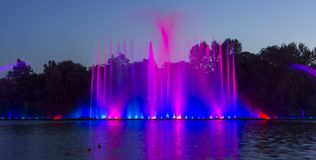 The city of Vinnytsia is a waterfront near the Roshen plant, in the evenings the fountain shows a laser show for. Residents and guests of the city Stock Photos