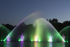 The city of Vinnytsia is a waterfront near the Roshen plant, in the evenings the fountain shows a laser show for. Residents and guests of the city Stock Images