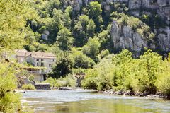 City of Vogüe in Ardèche, France stock photography
