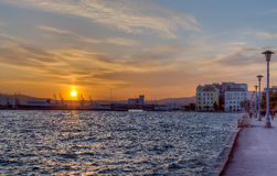 City of Volos waterfront at sunset, Greece Royalty Free Stock Image