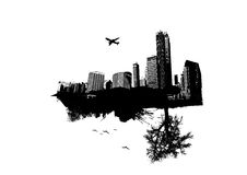 City vs Nature. Vector. Art Stock Photo