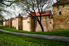 City Wall. Digital photo of the old city wall in Weissenburg in Bavaria,Germany Royalty Free Stock Photography