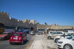 City wall along the harbor mandraki Stock Photography