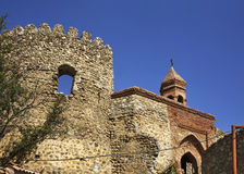 City wall and Church of St. Stephen in Sighnaghi. Kakheti. Georgia.  stock photos