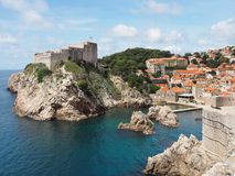 City Wall and Coastline of Dubrovnik, Croatia Royalty Free Stock Images