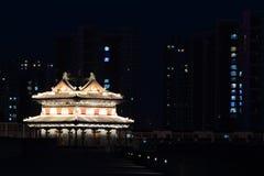 The City Wall of Datong illuminated at night Stock Photography