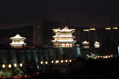 The City Wall of Datong illuminated at night Stock Image