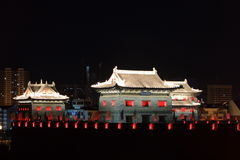 The City Wall of Datong illuminated at night Royalty Free Stock Image