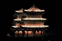 The City Wall of Datong illuminated at night Royalty Free Stock Photography