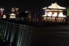 The City Wall of Datong illuminated at night Stock Image