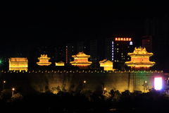 The City Wall of Datong illuminated at night Royalty Free Stock Photos
