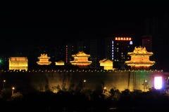 The City Wall of Datong illuminated at night Royalty Free Stock Photos