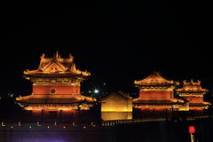 The City Wall of Datong illuminated at night Royalty Free Stock Photography