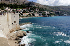 City wall in  Dubrovnik, Croatia. Sea view from the wall of Old town Dubrovnik, Croatia Royalty Free Stock Photo
