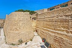City wall at entrance to Valletta old town. City wall at the entrance to Valletta old town in Malta Royalty Free Stock Photo