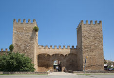 City wall gate. In Alcudia, Mallorca, Spain Stock Images