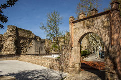 City wall and gate Seville, Talavera de la Reina, Toledo, Spain Royalty Free Stock Image