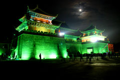 City wall and gate tower. An ancient chinese city wall and gate tower in the  night Royalty Free Stock Image