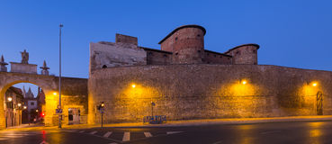 City wall of Leon in evening Stock Images