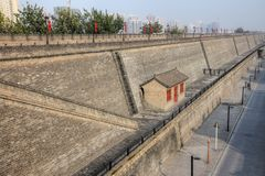 The city wall in the metropolis Xi`an. In Shaanxi province in China Royalty Free Stock Images