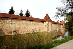 City Wall with moat. Digital photo of the old city wall in Weissenburg in Bavaria,Germany Stock Image