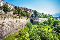 City wall of the old town of Bergamo Italy royalty free stock photography