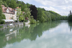 City Wall and River Lech in Landsberg Royalty Free Stock Photo