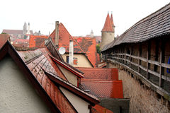 City wall of Rothenburg ob der. Tauber, medieval old town in Germany royalty free stock photography