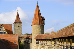 City wall of rothenburg ob der tauber Royalty Free Stock Images