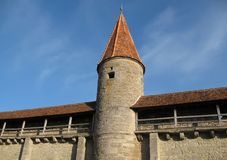 City wall with Watchtower. Part of the City Wall with watchtower in Rothenburg o.d. Tauber in Germany stock images