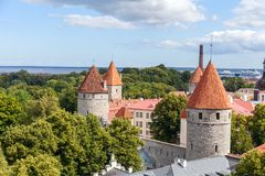 City wall and watchtower in old Tallinn, Estonia. Royalty Free Stock Images