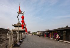 On the city wall of Xi`an, China stock photography