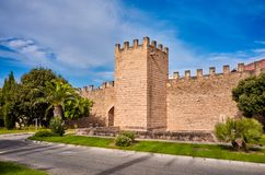 City walls in Alcudia, Spain. City walls in Alcudia, Mallorca oldest city, Spain royalty free stock photography