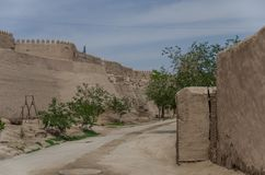 City walls of the ancient city of Ichan Kala in Khiva, a UNESCO royalty free stock photo