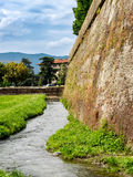City walls around Lucca in Tuscany Royalty Free Stock Photo