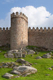 City ​​walls of Avila, with a green garden Stock Images