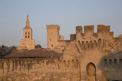 City Walls, Cathedral and Palais des Papes Palace; Avignon Stock Photo