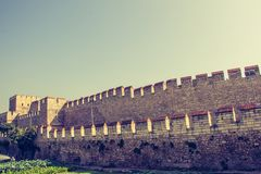 City walls of Constantinople in Istanbul, Turkey. The ancient city walls of Constantinople in Istanbul, Turkey stock photos