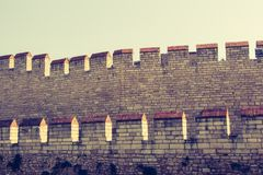 City walls of Constantinople in Istanbul, Turkey. The ancient city walls of Constantinople in Istanbul, Turkey royalty free stock photos