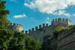 City walls of Constantinople in Istanbul, Turkey. The ancient city walls of Constantinople in Istanbul, Turkey royalty free stock images