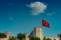 City walls of Constantinople in Istanbul, Turkey. The ancient city walls of Constantinople in Istanbul, Turkey royalty free stock image