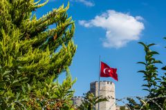 City walls of Constantinople in Istanbul, Turkey. The ancient city walls of Constantinople in Istanbul, Turkey stock images