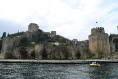 City walls of Constantinople. Near a river in Turkey Stock Photo
