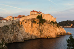 City Walls in Dubrovnik colored by sunset Stock Image