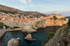 City Walls in Dubrovnik's Old Town at sunset Stock Images