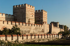 City walls of Istanbul, Turkey. City walls of Istanbul after partial restoration Stock Images