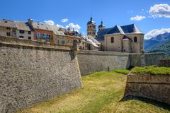 The Walls and the Old Town of Briancon, France. The City Walls of the Old Town of Briancon, built by Vauban, are Unesco World Culture Heritage site. Briancon is Stock Photography