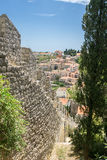 City Walls Overlooking Historic Hvar Town. The city walls and battlements, and views overlooking the historic old town of Hvar Town, on the island of Hvar in Stock Images