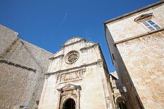 City walls, St. Saviour Church and Franciscan Monastery in Dubrovnik Stock Photography