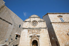City walls, St. Saviour Church and Franciscan Monastery in Dubrovnik Royalty Free Stock Image